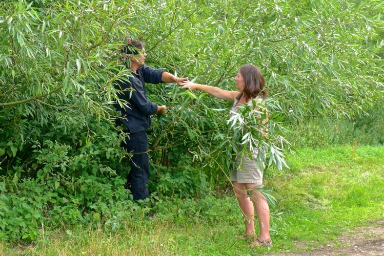 Paul and Julie-Ann catching willow branches